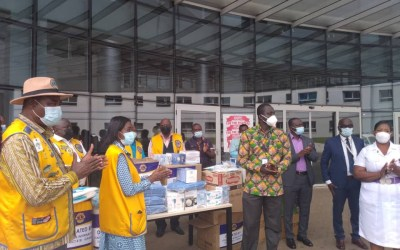 Lions Club District 418 Ghana donates PPE to UGMC and Ga East Municipal Hospital
