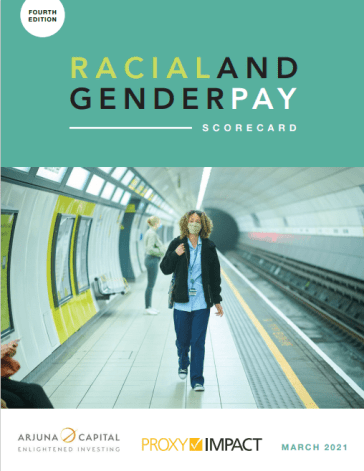 "The 4th edition of the ""Racial and Gender Pay Scorecard"" analyzed the quantitative disclosures of 51 companies worldwide. (Image credit: Arjuna Capital and Proxy Impact)"