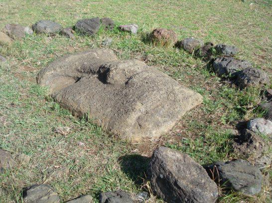 Moai buried on Easter Island statues