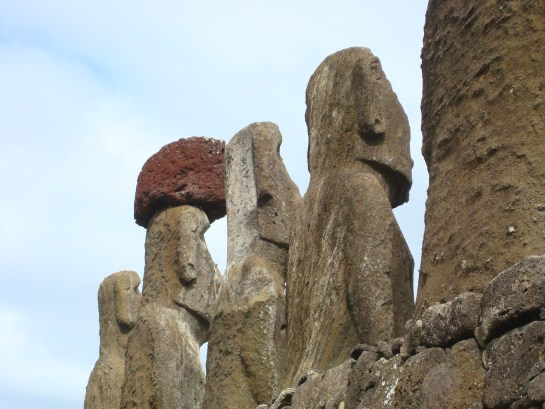 Looking behind the Moai of Easter Island