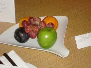 Welcome fruit and card at the Westin Lima
