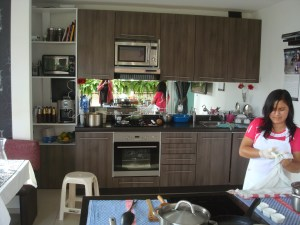 Indoor Kitchen w/chef's assistant who did prep work