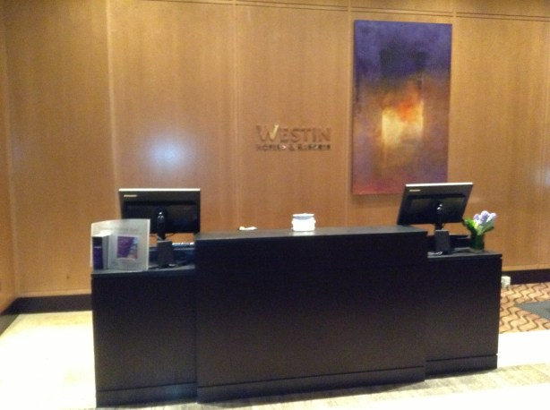 One of four guest services desks in the square area