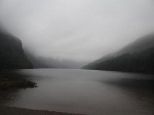 The fog and rains on the lake at Glendalough