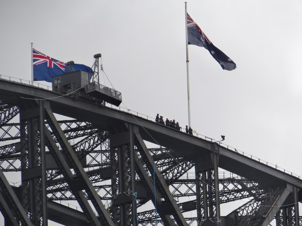 Sydney Harbour Bridge Climb - at the top with the flags
