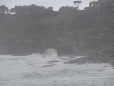 Bondi Beach in the rain and wind