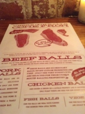 Meatball & Wine Bar Ball Menu