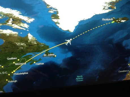 Flight Map PHL-KEF Philly to Iceland