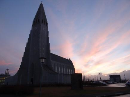 Hallgrimskirkja Reykjavik sunrise