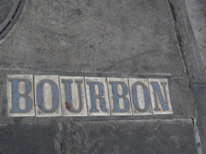 Bourbon Street tiles in the pavement New Orleans