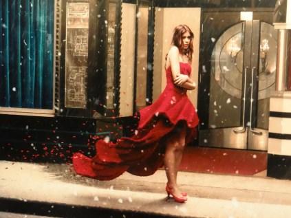 Dean West red dress lego lady
