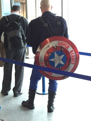 Superhero in Manchester Airport