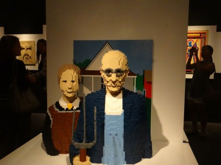 American Gothic painting in legos