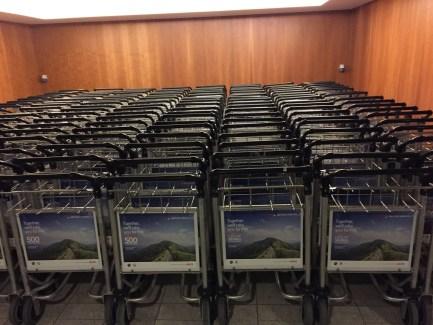 Luggage carts trolleys at LHR T5 Sofitel