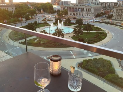 The Logan Hotel rooftop bar assembly view of logan's circle parkway
