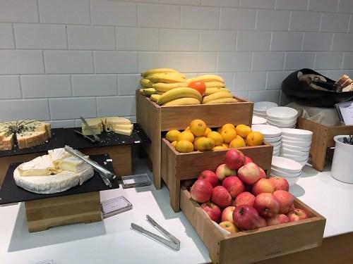 BA LHR First Class Lounge fruit cheese
