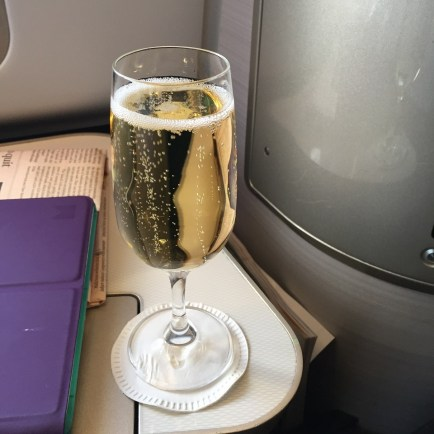 British Airways First Class Champagne welcome