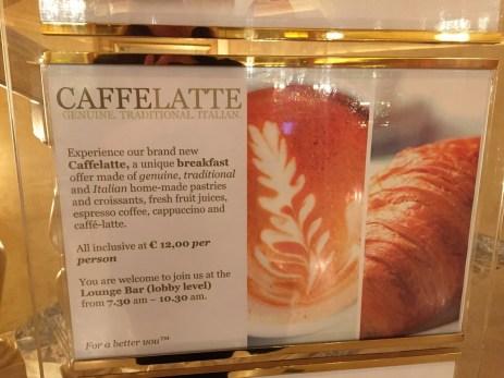 Westin Milan CaffeLatte breakfast