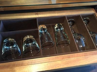 Mini bar glasses at the Sheraton Edinburgh Grand