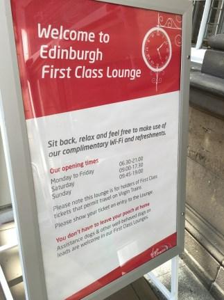 Hours of Operation Virgin Edinburgh First Class Lounge
