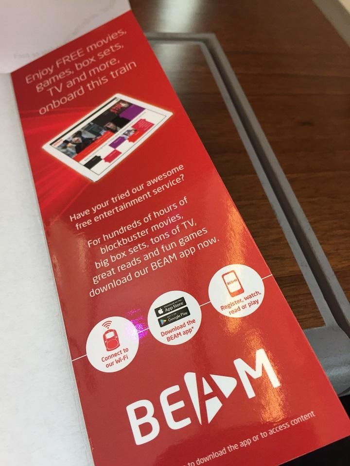 BEAM Virgin Trains app enterainment and free wifi
