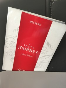 Virgin East Coast First Class Menu train Edinburgh to Lonndon