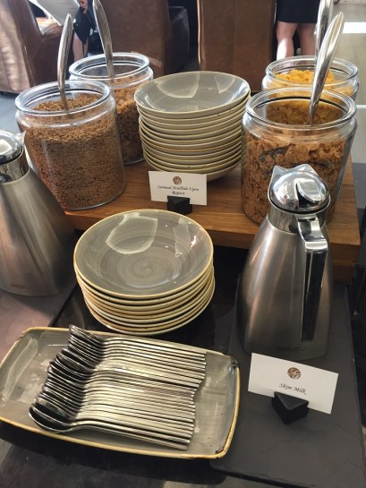 Fairmont D.C. Gold Level Lounge review breakfast cereals