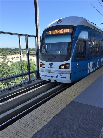 Seattle airport train to the city Lightrail