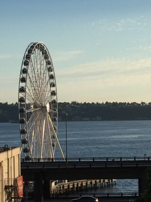 Seattle Giant Ferris Wheel on the Waterfront in front of the Four Seasons Seattle view