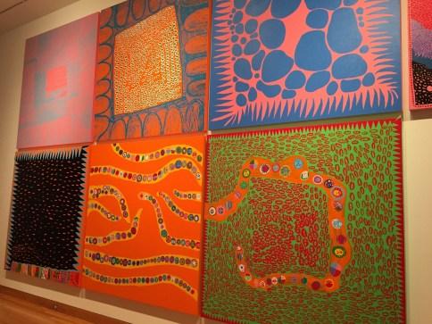 Paintings by Kusama Infinity Mirrrors exhibit
