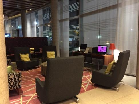 London Aloft Excel lobby seating