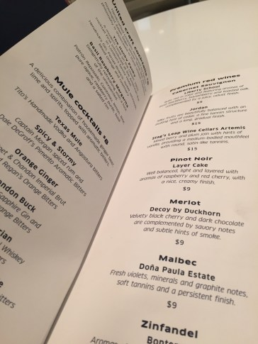 United Club PHL lounge bar drinks menu