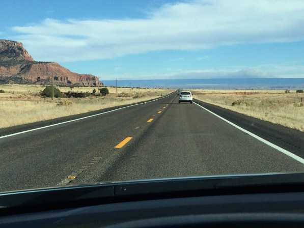 Two lane road driving St. George to Page Arizona