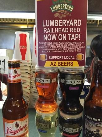 Local Arizona beer in Page Arizona Slackers