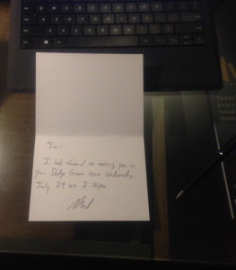 handwritten note to confirm a sales meeting