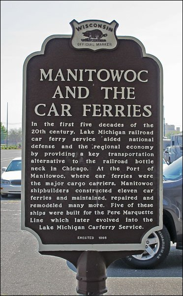 Manitowoc and the Car Ferries sign