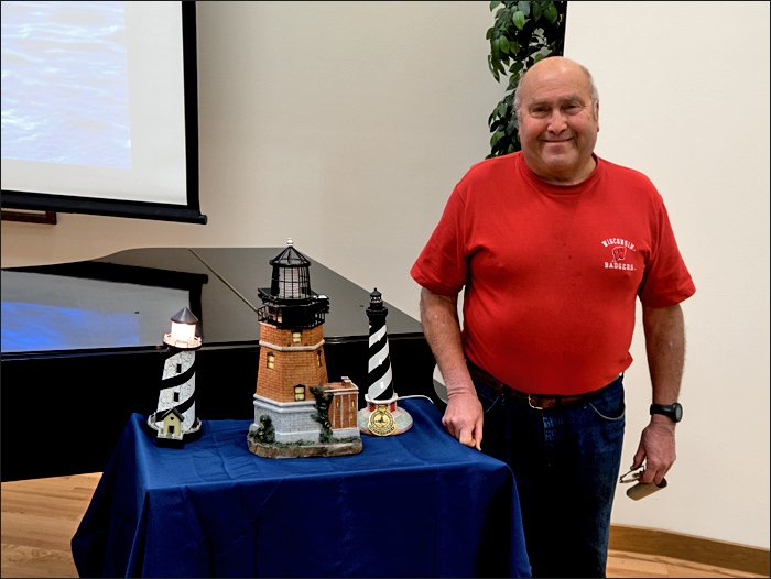 Bill Williams and his lighthouse models