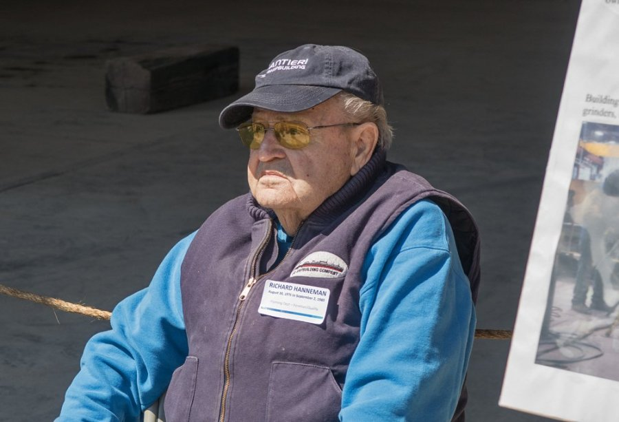 Ninety-year-old retiree Richard Hanneman, who as a draftsman early in his career worked on plans for the Lake Michigan car ferries Badger and Spartan. He served as a guide at one of the exhibits.