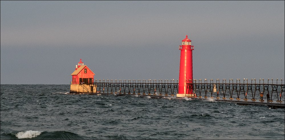 Morning sunlight on the Grand Haven Lighthouses