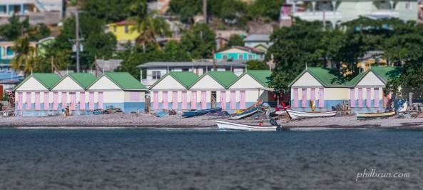 Baraques de plage à Scotts Head ile Dominique