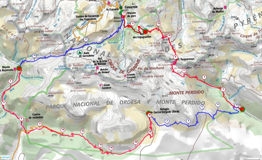 Plan tour du Mont Perdu