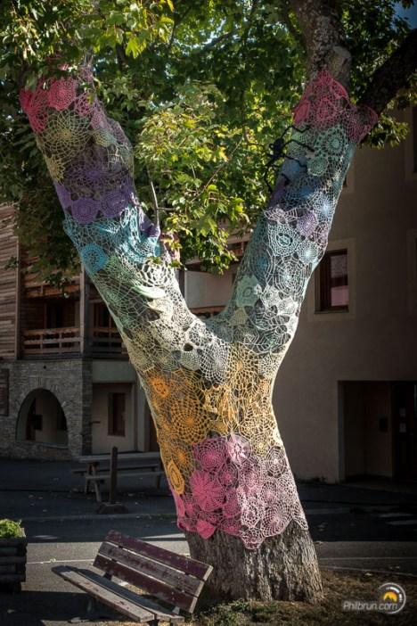 Un arbre brodé en toile d'araignée au centre d'Abries. L'araignée est sur la grosse branche de droite ;-)