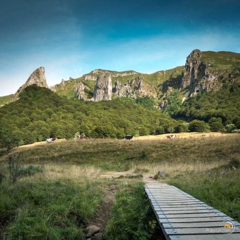 On quitte ici la vallée pour prendre ce petit pont de bois qui monte vers le sommet par la forêt.