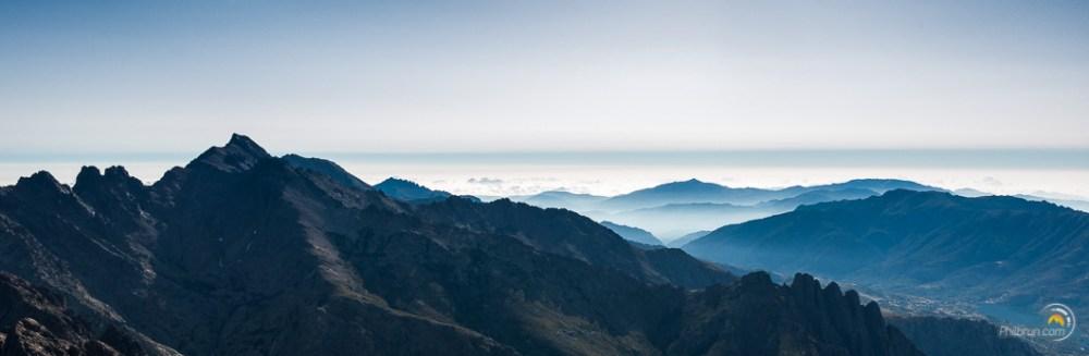 Monté Cinto vu depuis le sommet de Paglia Orba