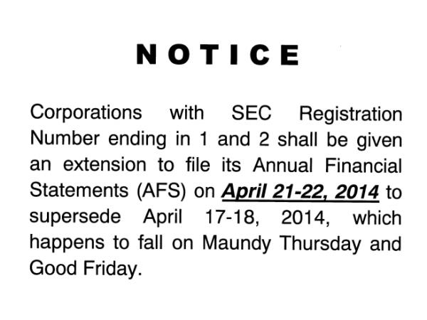 SEC Notice