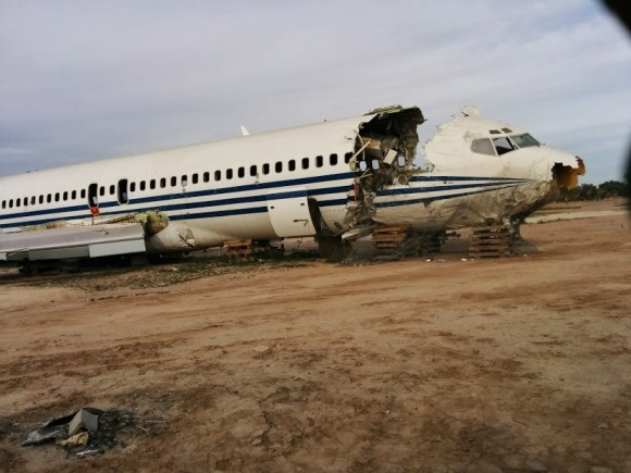 Spotted this wrecked plane on the way.