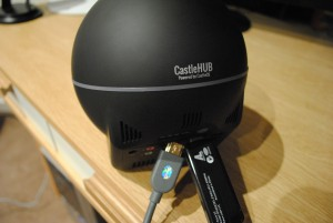 The CastleHUB with a HDMI cable and Zwave Module