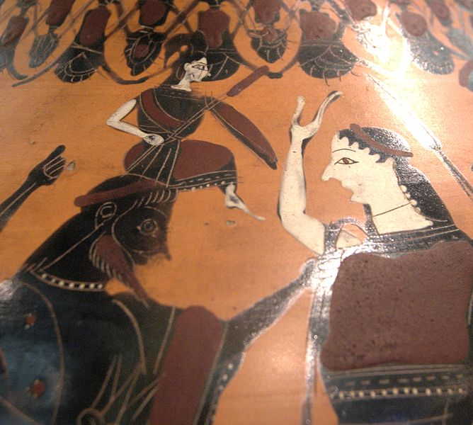 Detail from black-figure ceramic amphora depicting the birth of Athena from Zeus' head,