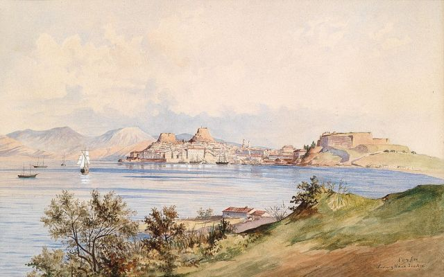 Watercolour of the city of Corfu