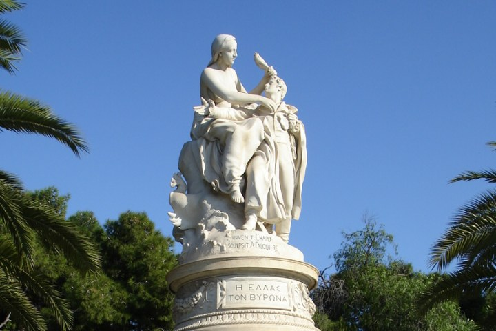 Statue of Lord Byron in Athens, Greece.
